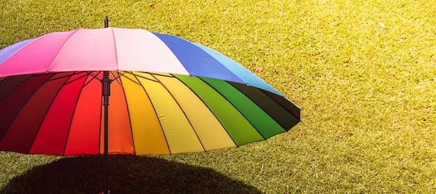 Guarda-chuva de arco-íris no vintage de campo de grama e tom retrô, foco suave Foto Premium