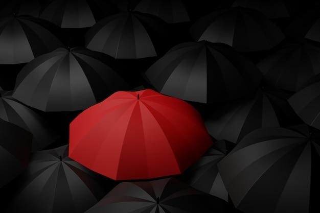 Guarda-chuva vermelho no meio de preto. conceitos de diferença. renderização em 3d. Foto Premium