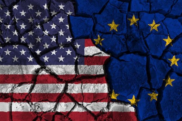 Guerra comercial entre estados unidos da américa versus europe Foto Premium