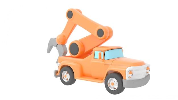 Guindaste de caminhão de brinquedo isolado sobre backgroung branco Foto Premium
