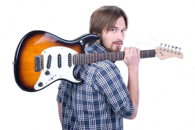 Guitarrista toca na guitarra elétrica Foto Premium