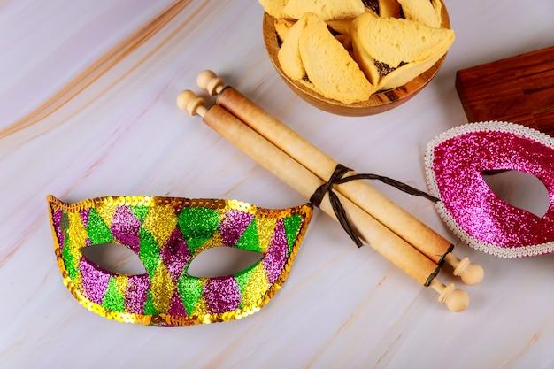 Hamantaschen hamans orelhas cookies purim comemoração feriado judaico Foto Premium