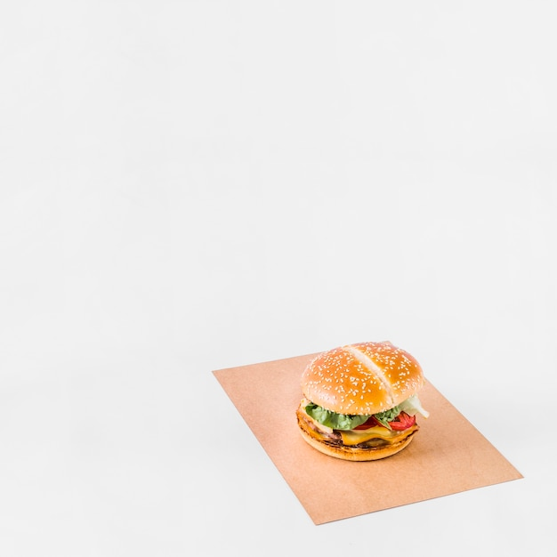 Hamburguer fresco no papel marrom sobre o fundo branco Foto gratuita