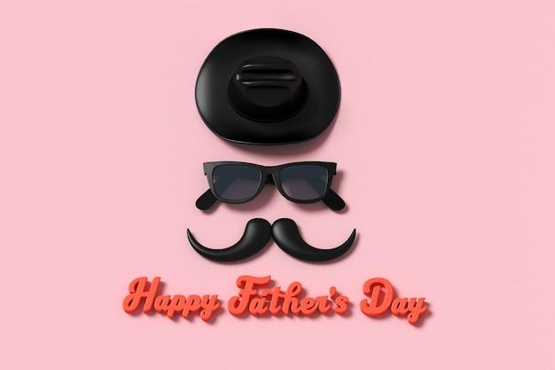 Happy father's day personagens tridimensionais para cartão Foto Premium