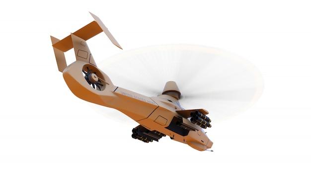 Helicóptero do exército moderno em voo com um conjunto completo de armas em um espaço em branco. ilustração 3d Foto Premium