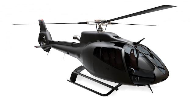 Helicóptero preto isolado no espaço em branco. renderização em 3d. Foto Premium
