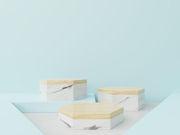 Hexágono do pódio na composição azul, branca, de mármore abstrata, 3d rende Foto Premium