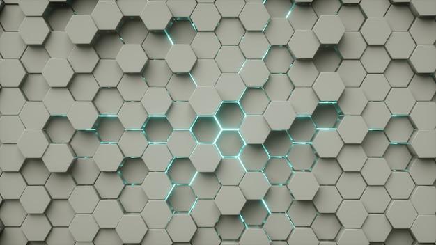 Hexágono padrão abstrato cinza azul neon luz Foto Premium