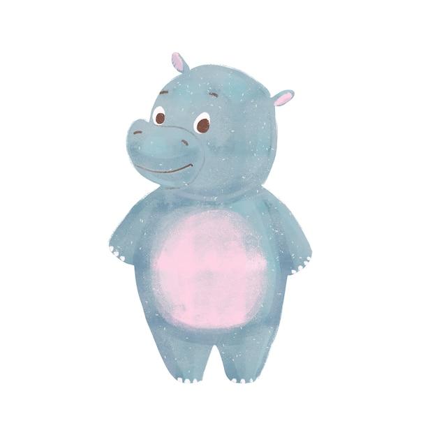 Hipopótamo de bebê dos desenhos animados isolado Foto Premium