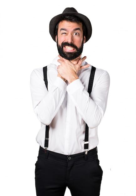 Hipster homem com barba afogando-se Foto gratuita