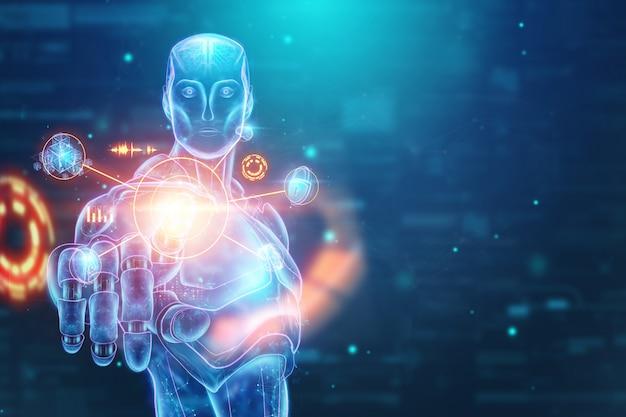 Holograma azul de um robô, cyborg, inteligência artificial sobre um fundo azul Foto Premium