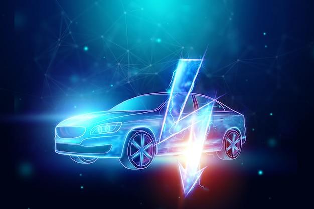 Holograma de carro elétrico, sinal de electricidade. Foto Premium