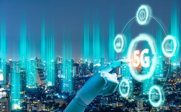 Holograma digital de rede 5g e internet das coisas no fundo da cidade Foto Premium