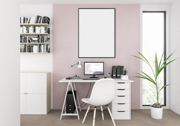 Home office com moldura vertical vazia para foto ou obra de arte Foto Premium