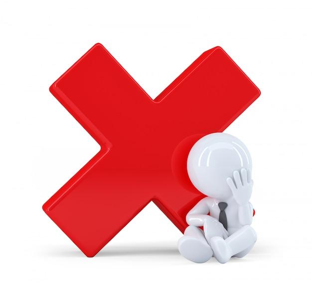 Homem 3d com marca de seleção vermelha Foto Premium