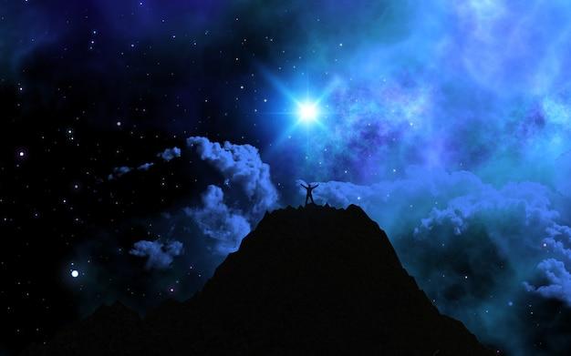 Homem 3d ficou no topo de uma montanha contra um céu de espaço Foto gratuita