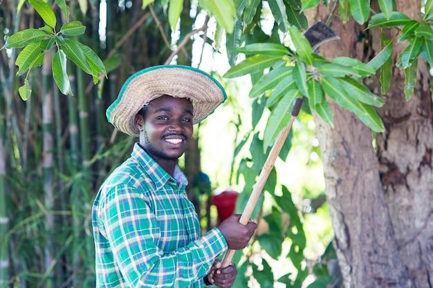 Homem africano agricultor segurando a faca para cortar a folha verde da árvore Foto Premium