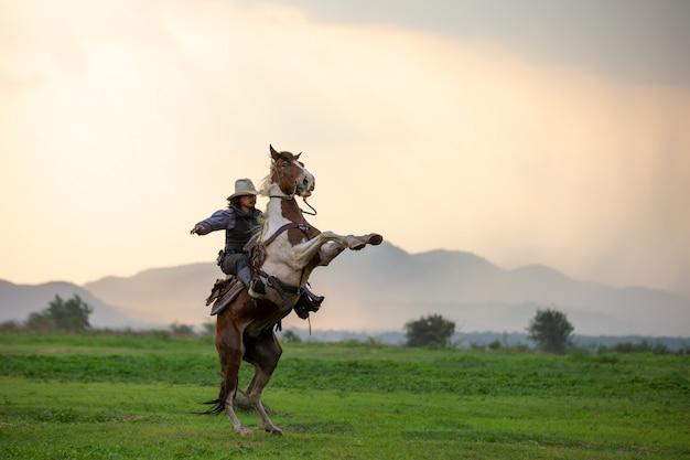 Homem andando a cavalo no campo durante o pôr do sol Foto Premium