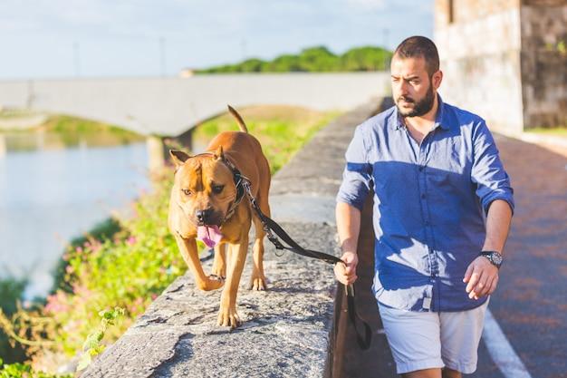 Homem andando com seu cachorro. Foto Premium
