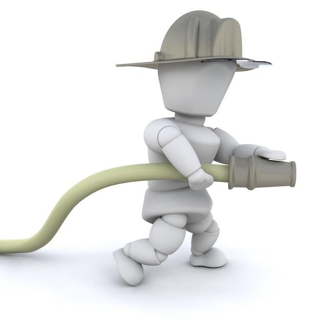 Homem bombeiro 3d com capacete e mangueira isolada Foto gratuita