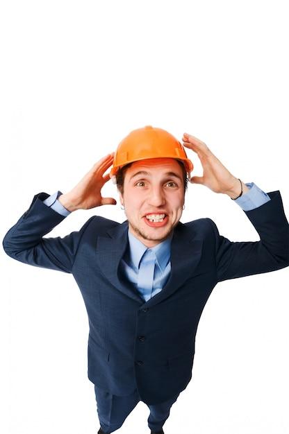 Homem com capacete de segurança Foto gratuita