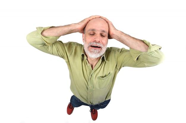 Homem, com, dor de cabeça, branco, fundo Foto Premium