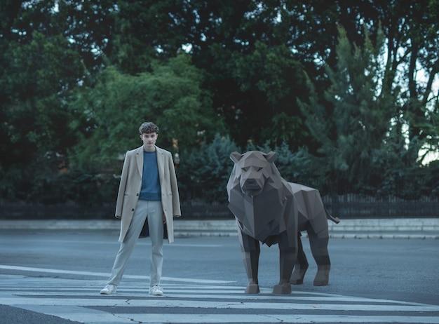Homem com leão 3d ilustrado Foto gratuita