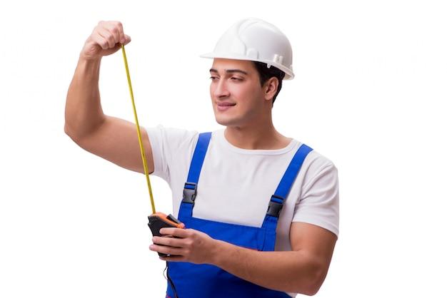 Homem, com, medida fita, isolado, branco Foto Premium