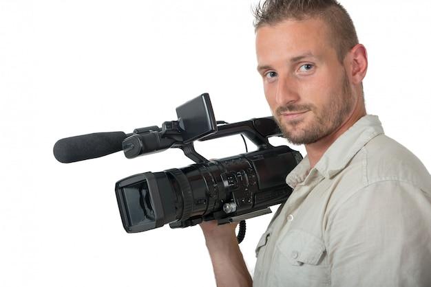 Homem, com, profissional, filmadora, isolado, branco Foto Premium