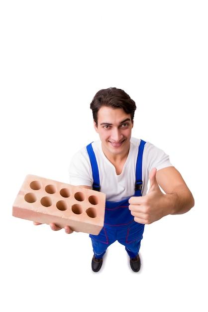 Homem, com, tijolo, isolado Foto Premium