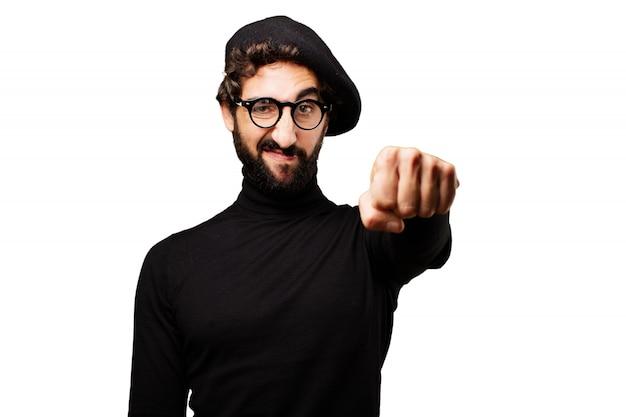 Homem com um punho erguido Foto gratuita