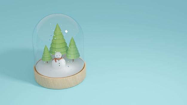 Homem da neve e árvore verde no globo de vidro de neve e placa de madeira do círculo Foto Premium