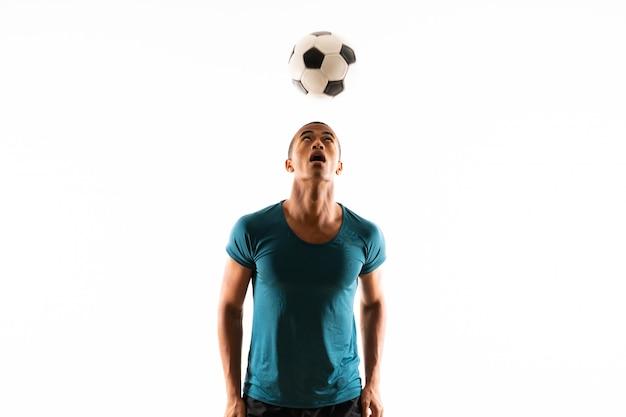 Homem de jogador de futebol americano afro Foto Premium