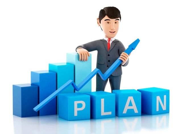 Homem de negócios 3d com gráfico do crescimento e plano da palavra. Foto Premium