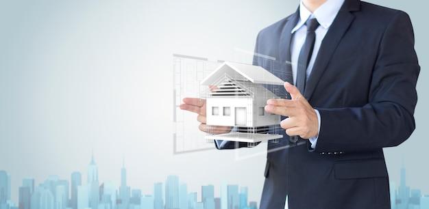 Homem de negócios criar casa de design ou em casa Foto Premium