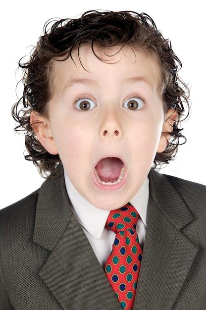 Homem de negócios futuro adorável um sobre o fundo branco Foto Premium