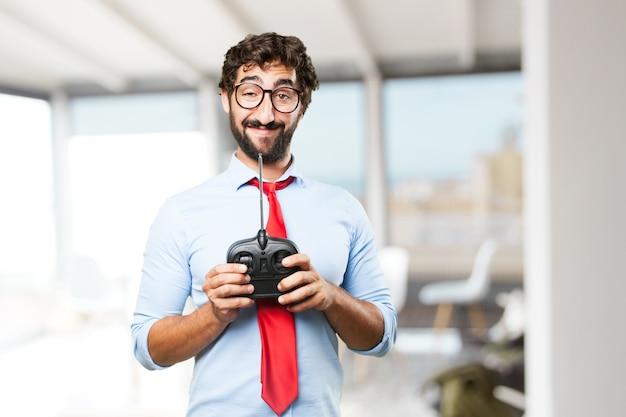 Homem de negócios louco expressão feliz Foto gratuita