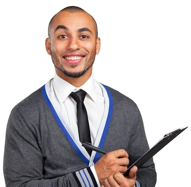 Homem de negócios preto com prancheta Foto Premium