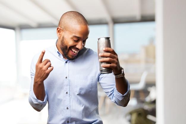 Homem de negócios preto feliz expressão Foto gratuita