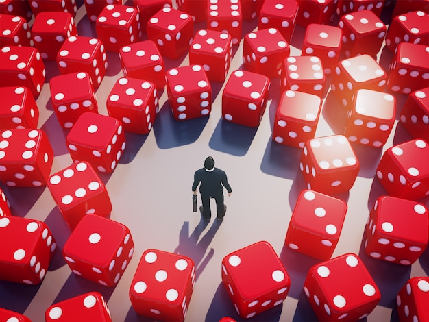 Homem de negócios que está com dados do rolamento ao redor, conceito do risco comercial. renderização em 3d. Foto Premium