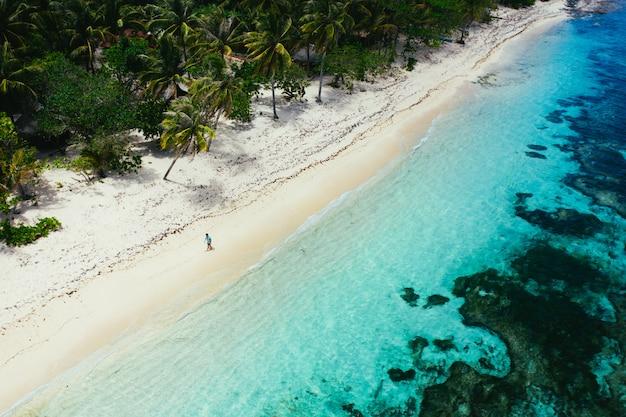 Homem de pé na praia e apreciando o lugar tropical com vista. cores do mar do caribe e palmeiras. conceito sobre viagens e estilo de vida Foto Premium