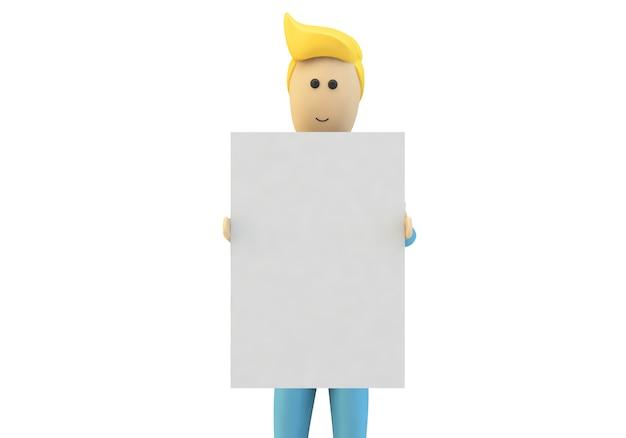 Homem dos desenhos animados segurando um cartaz em branco Foto Premium