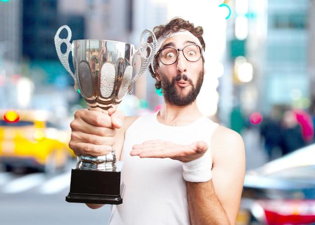 Homem dos esportes louco. expressão de surpresa Foto gratuita