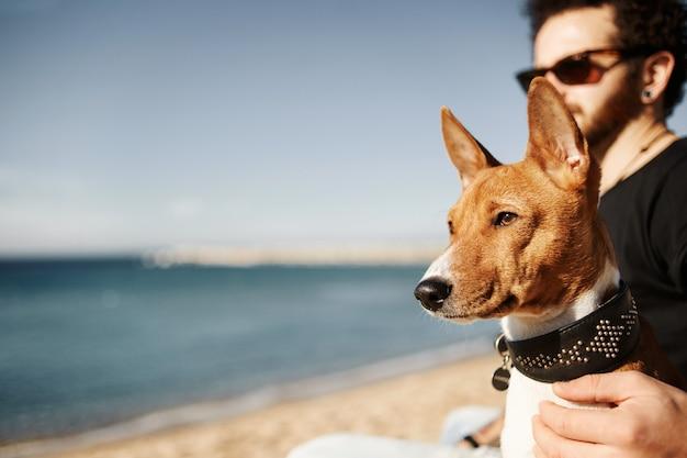 Homem e cachorro na praia admirando o mar Foto gratuita