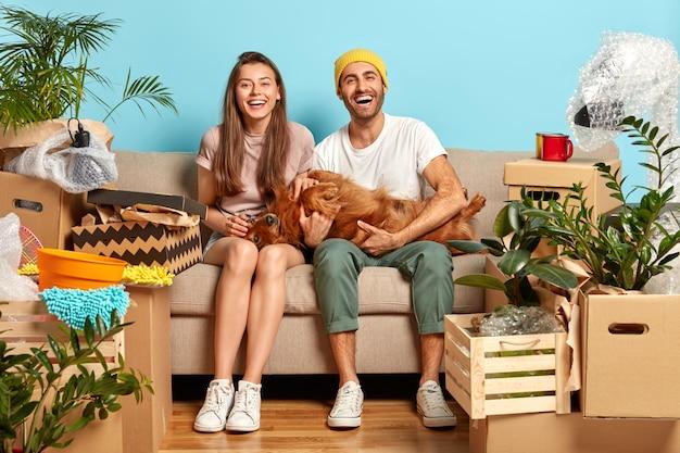 Homem e mulher encantados positivamente brincando com seu cachorro favorito, posam no sofá Foto gratuita