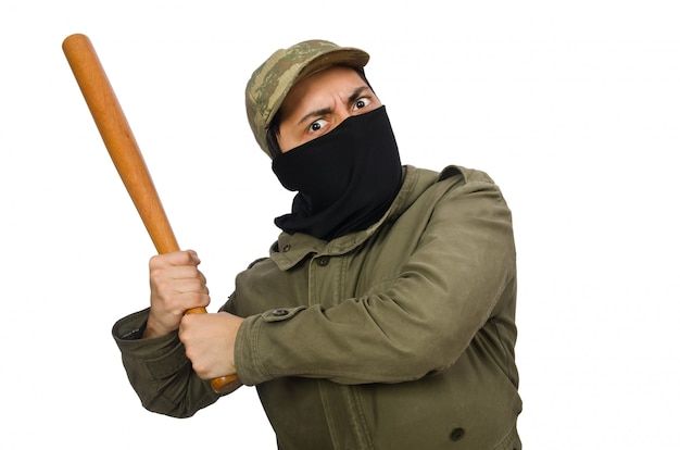 Homem engraçado com taco de beisebol isolado no branco Foto Premium
