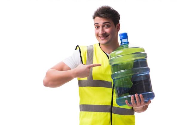 Homem, entregar, garrafa água, isolado Foto Premium