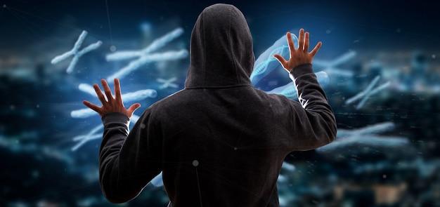 Homem hackeando um grupo de cromossomo com dna dentro isolado renderização em 3d Foto Premium
