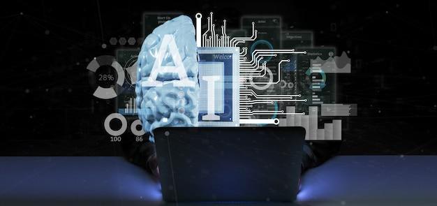 Homem hacker, segurando, ícone inteligência artificial, com, metade, cérebro, e, meio, circuito, 3d, fazendo Foto Premium
