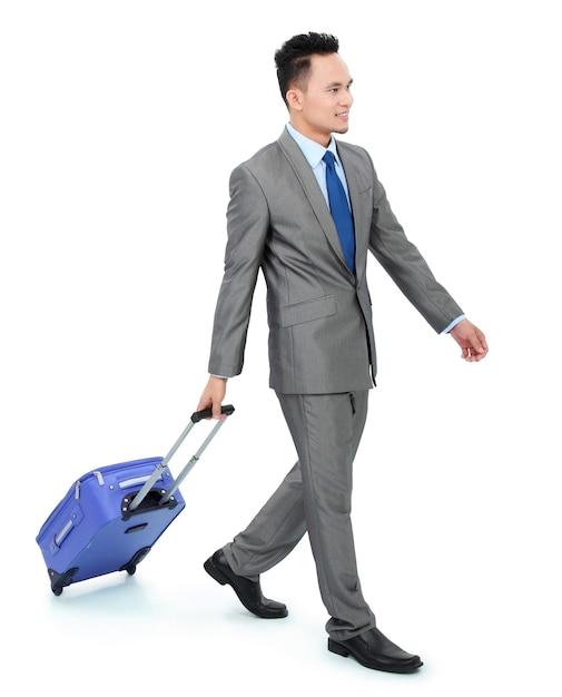 Homem indo em uma viagem de negócios Foto Premium